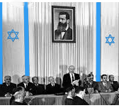 David Ben-Gurion announcing Israel's Independance on May 14, 1948.